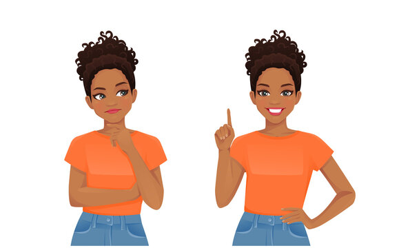 Cute african young woman thinking looking away and making idea pointing up isolated on white background vector illustration