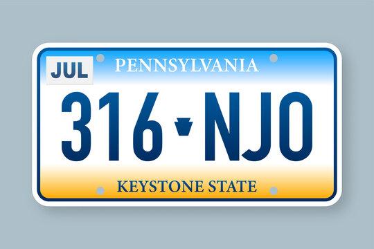 License plate pennsylvania. Vector illustration on white background.