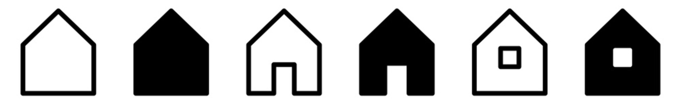 House Icon Black | Home Illustration | Real Estate Symbol | Building Logo | Tiny Houses Sign | Isolated | Variations