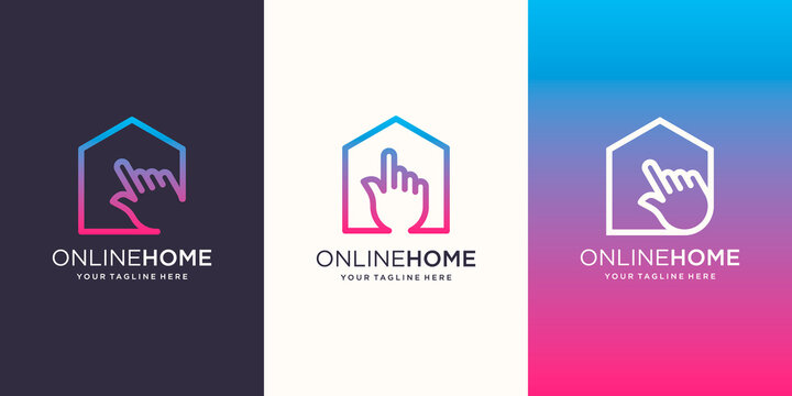 Online Home Logo designs Template. House combined with cursor.