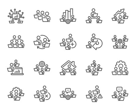 Teamwork line icons. Working at home, online team worker, remote office. Artificial intelligence, growth chart, online home job line icons. Remote team work, people study, programmers. Vector