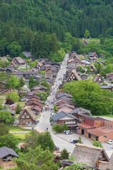Fototapete - Idyllic landscape of historical village Shirakawa-go in Japan