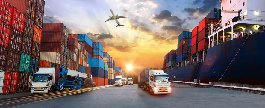 Container truck in ship port for business Logistics and transportation of Container Cargo ship and Cargo plane with working crane bridge in shipyard, logistic import export and transport concept
