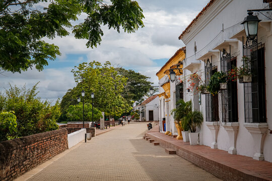 Promenade with typical historic houses, trees,  Santa Cruz de Mompox, Colombia, World Heritage