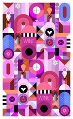 Abstract modern design of wine bottles and geometric shapes. Geometry art graphic illustration.