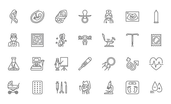 Gynecology flat line icons set. Pregnancy test, baby ultrasound, obstetrics doctor, embryo in uterus, infertility, ivf vector illustrations. Outline signs pregnant woman health, hospital infographic