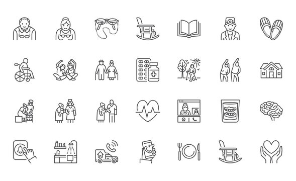 Senior people flat line icons set. Old man and woman exercising, active grandparents, wheelchair, alzheimer nursing home doctor vector illustrations. Outline signs for elder citizens infographic
