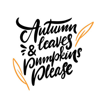 Autumn and leaves pumpkins please. Modern calligraphy phrase. Black color vector illustration.