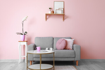 Wall Mural - Interior of modern room with sofa and table