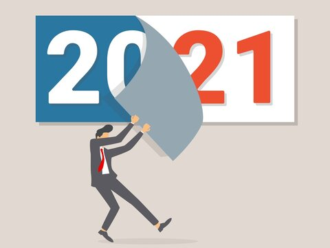 Goodbye 2020. A businessman tears off a calendar sheet of the outgoing year. Parting with coming year. Vector illustration flat design.
