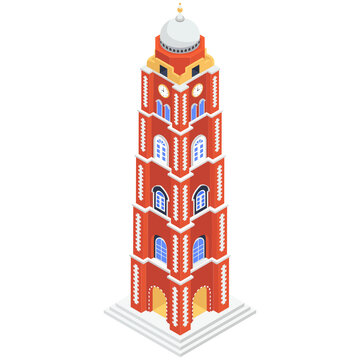 Oldest monument  isometric icon, sialkot clock tower vector
