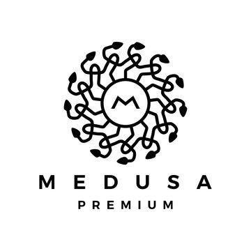medusa snake logo vector icon illustration