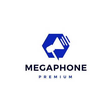 megaphone hand speaker portable logo vector icon illustration