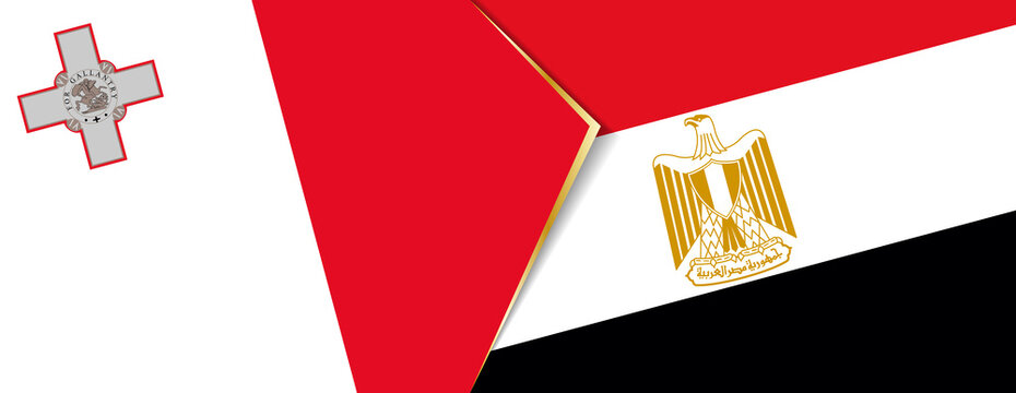 Malta and Egypt flags, two vector flags.
