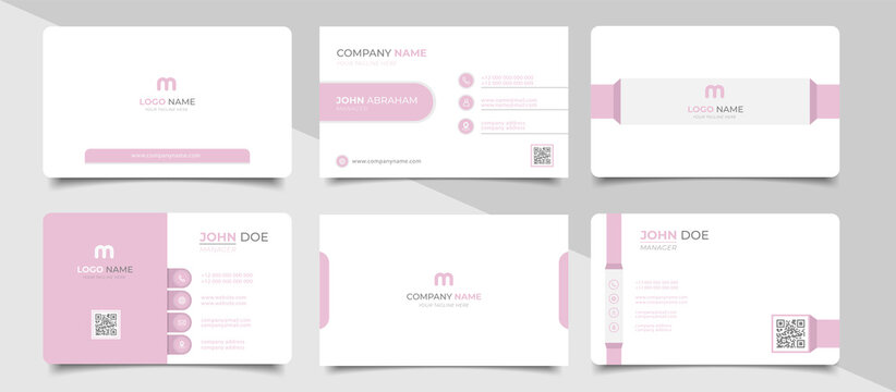 Trendy minimal abstract business card template in pink color.