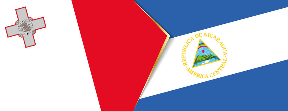 Malta and Nicaragua flags, two vector flags.