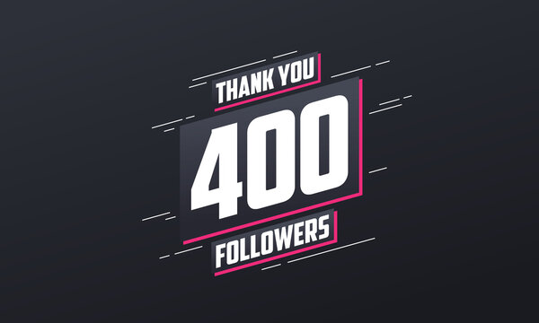Thank you 400 followers, Greeting card template for social networks.
