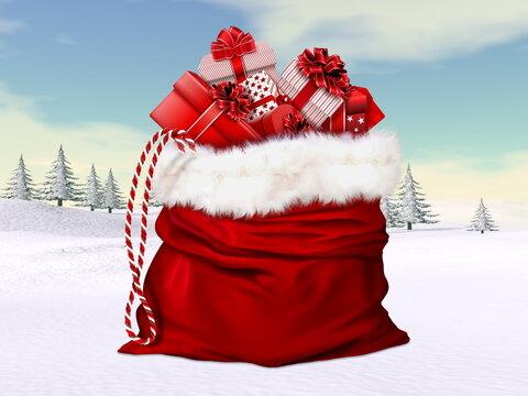 Big Santa Claus bag for christmas in winter landscape- 3D render