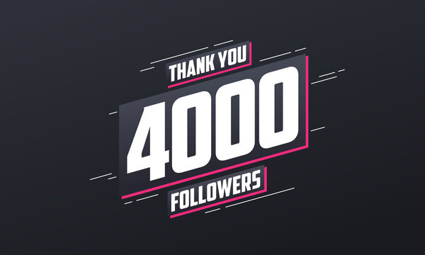 Thank you 4000 followers, Greeting card template for social networks.