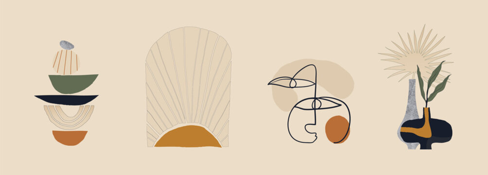 Modern minimalist abstract aesthetic illustrations. Bohemian style wall decor. Collection of contemporary artistic prints.