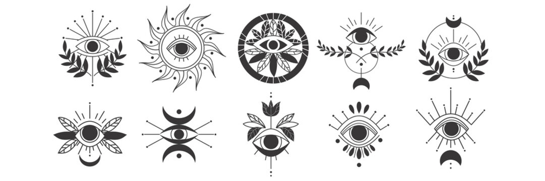 Eyes doodle set. Collection of hand drawn templates patterns of magic witchcraft eye talisman, magical esoteric religion sacred geometry symbols. Amulet talisman or various luck souvenir illustration.