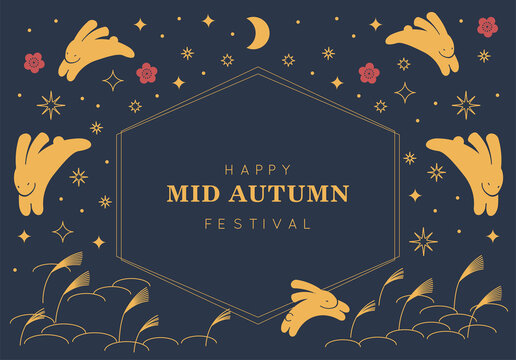 Moon Cake Mid Autumn Festival Chuseok Day Orientals Rabbit and Moon Background Vector