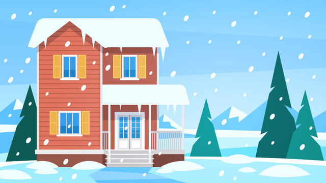 House in winter. Cottage in snowy landscape and snow forest with trees and hills, front view building with terrace christmas vacation vector background