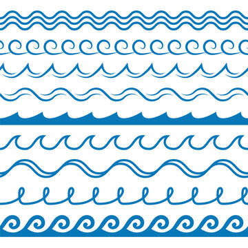 Wave frames. Seamless marine wavy pattern, blue line ornament, sea surf decorative border, curved swirls water silhouettes design textile wrapping, wallpaper vector texture on white