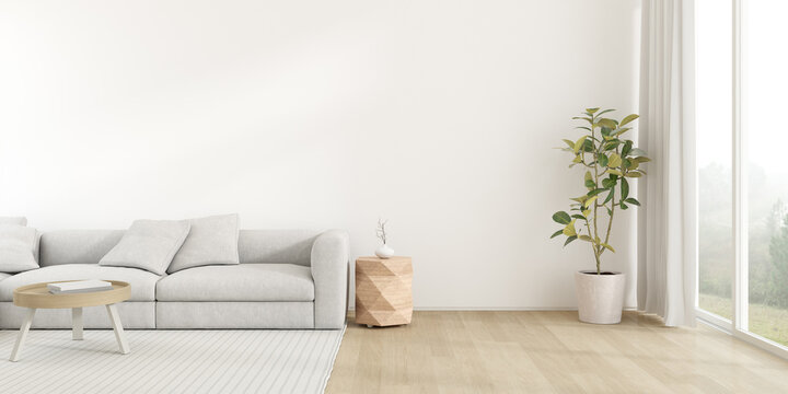 3d render of modern living room with sofa on wooden floor, Empty wall with large window on nature background.