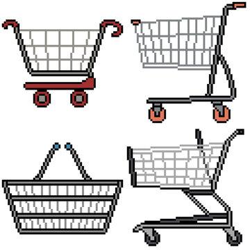pixel art set isolated shopping cart