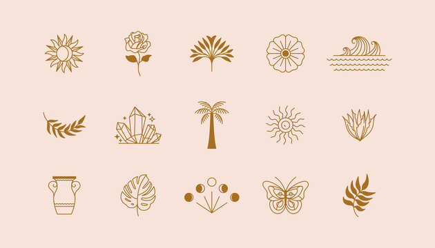 Vector set of linear icons and symbols - sun, plants, different objects - minimalistic design elements for tattoo or decoration
