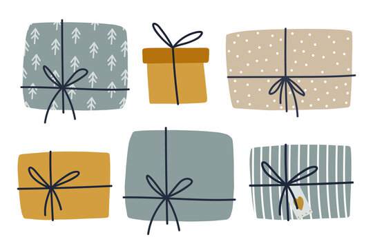 Christmas gift boxes clipart set. Cozy winter illustration for srickers, logo, cards, posters, wrapping, scrapbooking, patterns. Present stickers set in flat style.
