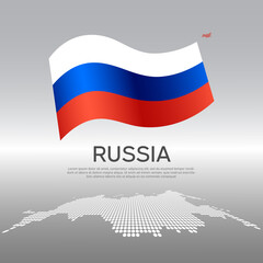 Russia wavy flag and mosaic map on light background. Creative background for the national russian poster. Vector design. Business booklet. State russian patriotic banner, flyer