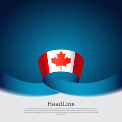 Canada flag background. Canada flag wavy ribbon on blue white background. National poster. Vector business brochure design. State Canadian patriotic banner, cover, flyer