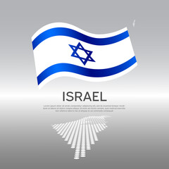 Israel wavy flag and mosaic map on light background. Creative background for the national Israeli poster. Vector tricolor design. Business booklet. State israel patriotic banner, flyer