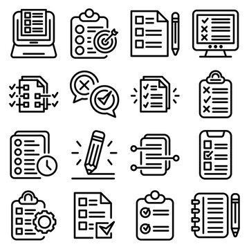 Assignment icons set. Outline set of assignment vector icons for web design isolated on white background
