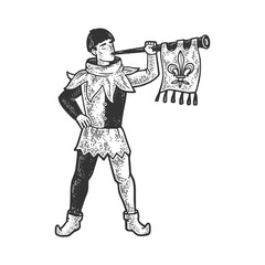 medieval trumpeter sketch engraving vector illustration. T-shirt apparel print design. Scratch board imitation. Black and white hand drawn image.