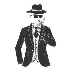 invisible Man character sketch engraving vector illustration. T-shirt apparel print design. Scratch board imitation. Black and white hand drawn image.