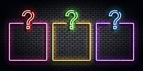 Door stickers Wall Decor With Your Own Photos Vector realistic isolated neon sign of Quiz frames logo for template decoration and covering on the wall background. Concept of trivia night and question.
