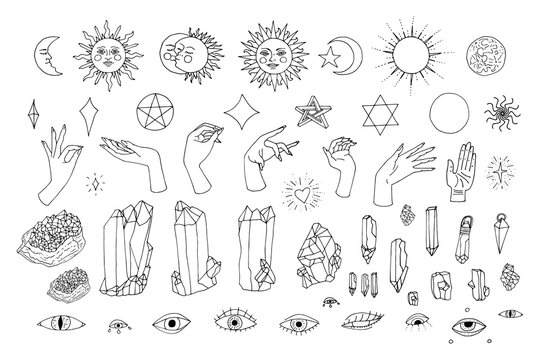 Hand drawn doodle set of black line art in boho style. Collection of witch female hands, celestial objects, stars, crystals, eyes. Isolated on white background.