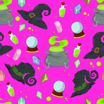 Cartoon Halloween witchcraft seamless pattern with cauldron, gemstones and whitch hats template. Spooky vector illustration on bright hot pink background for games, background, pattern, decor, print