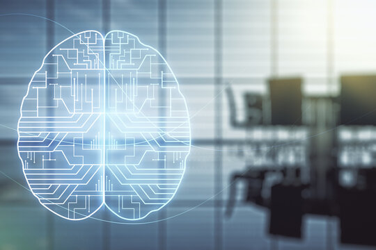Virtual creative artificial Intelligence hologram with human brain sketch on a modern conference room background. Multiexposure