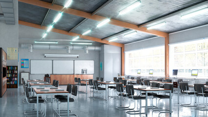High school classroom interior. 3d illustration