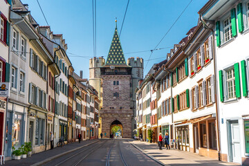 Spalentor gate in Basel before evening , The Charming city in Switzerland