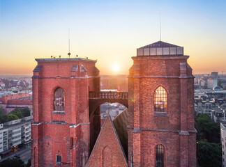 Mostek Pokutnic - a bridge between two towers of St. Mary Church. Famous viewpoint in Wroclaw,...