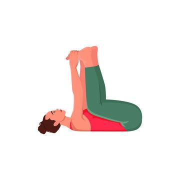 Women flat illustration. Happy baby, dead bug yoga pose. Ananda Balasana. Vector illustration