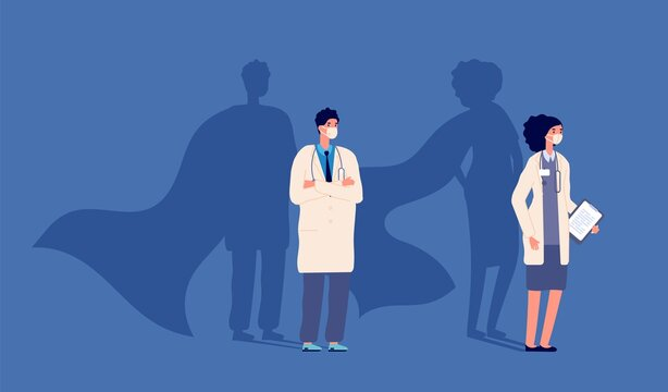 Doctor superhero. Medical strength heroes, people wear protective mask. Medicine power, woman man and strong shadows in capes vector. Illustration superhero doctor, medical hero with stethoscope