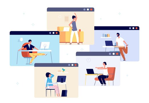 Home office exercise. Work break relax, business people working online and doing yoga. Wellbeing training, mind clear and calm vector. Relax exercise in office, wellness relaxation illustration