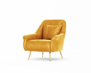 Fototapeta 3d rendering of an Isolated modern yellow mustard velvet mid century lounge armchair  obraz