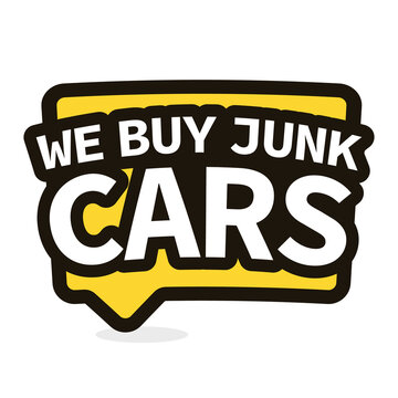 We Buy Junk Cars speech bubble icon. Clipart image isolated on white background.